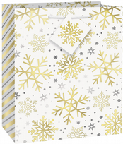 Silver & Gold Holiday Snowflakes Medium Gift Bag